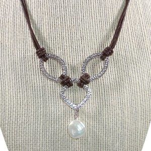 Silpada Coin Pearl Brown Leather Necklace Sterling